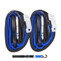 GORILLAS GRIP MOTORCYCLE  TIE DOWNS 38MM SOFT HOOK / SNAP HOOK BLACK / BLUE